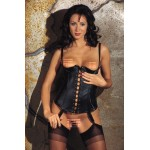 Black Leather Boned 1/4 Cup Basque Corset