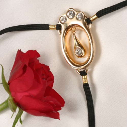 Jeweled Gold G-String with Clitoral Pendant