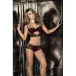 8256 Two Piece Set Color Black-Burgundy