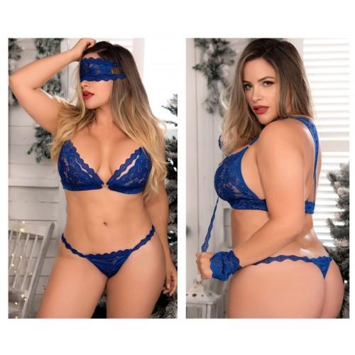 8218X Four Piece Bra Set Color Blue