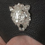 Men's Lions Head Leather G-String in Silver or Gold