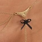 Double Lace and Bow Dangling Waist Chain in Gold or Silver
